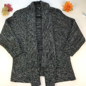 Chaus Cardigan Marled open front Sz S Black/white